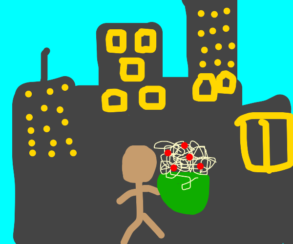 man holding spaghetti in a city
