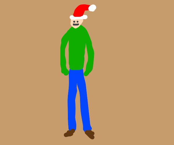 tall man wearing those santa hats
