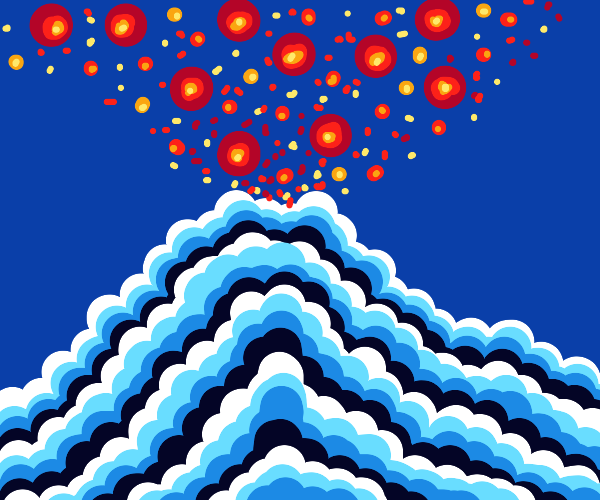 Cloud volcano expelling candy and cells.