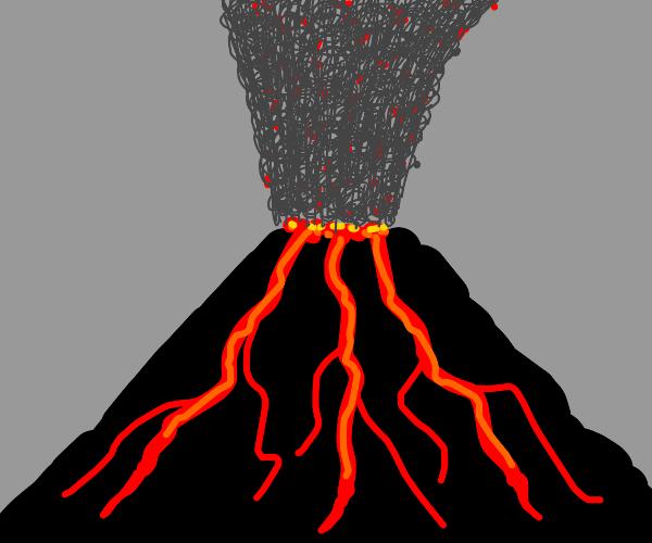 Volcano erupting lava and ash