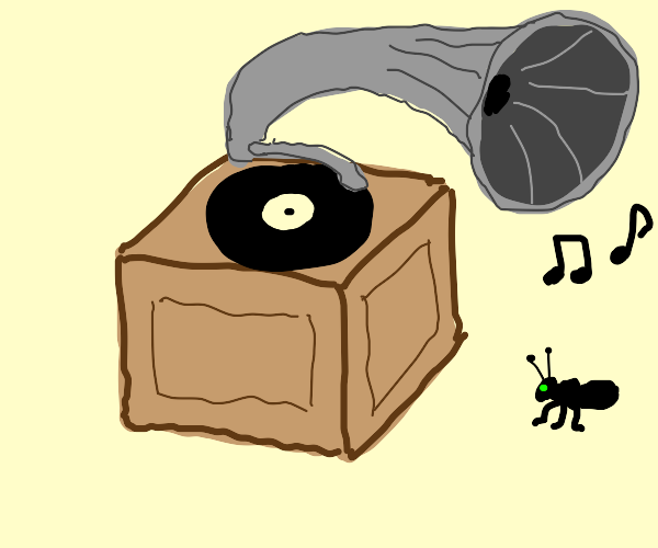 Bug enjoying gramophone music