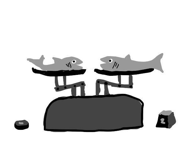 two fish on a balance weight scale