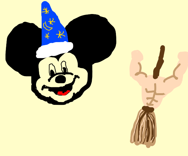 Wizard Mickey and the super buff broom