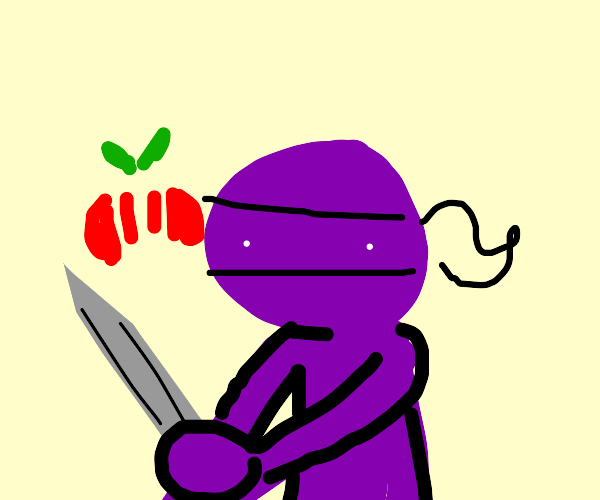 Purple ninja chef cutting tomatoes with sword