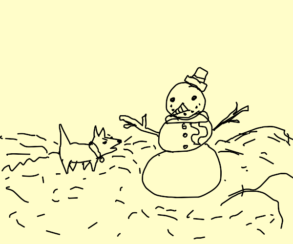 Dog barks at snowman
