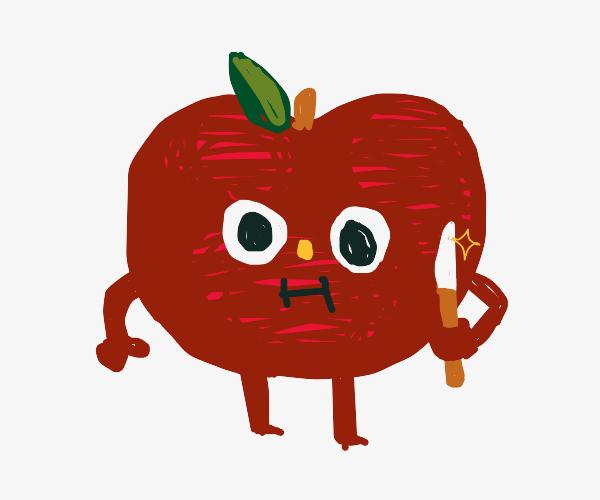 apple wit a knife