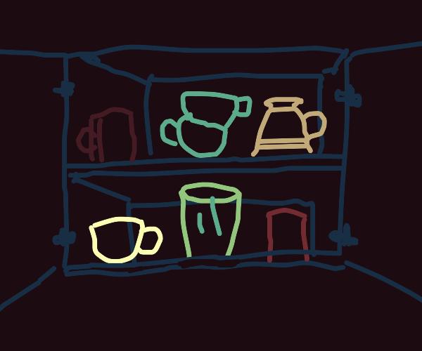 cups in a cupboard