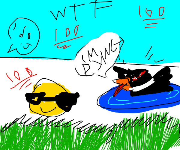 Daffy duck drowning in pond during wedding