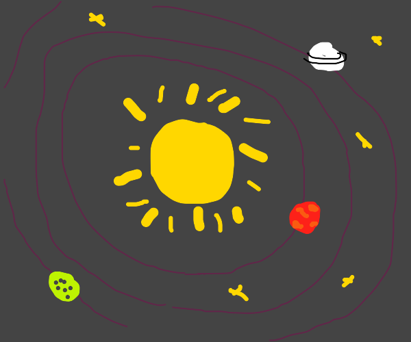 The Sun showing planets orbiting