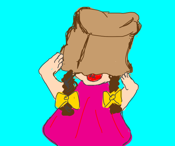 Girl with a bag on her head