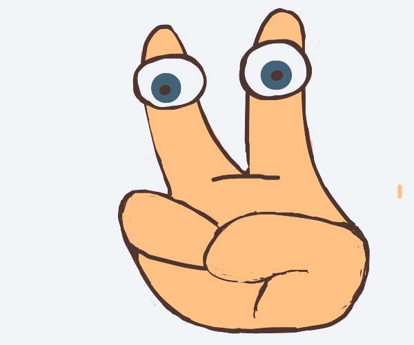 Three fingered hand, with eyes on the fingers