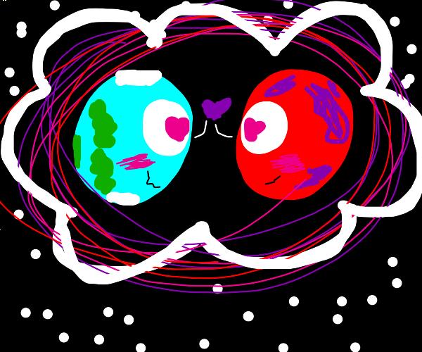 earth x mars in a cloud..