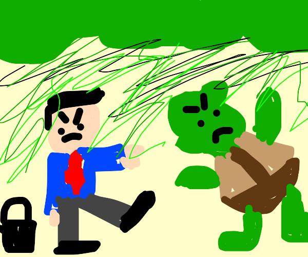 business man kicking shrek outta his swamp