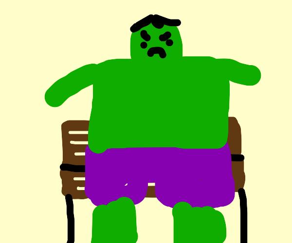 Hulk on a bench