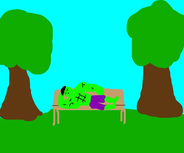hulk laying on a bench