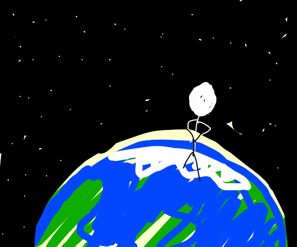 Person on top of the world, looking at space