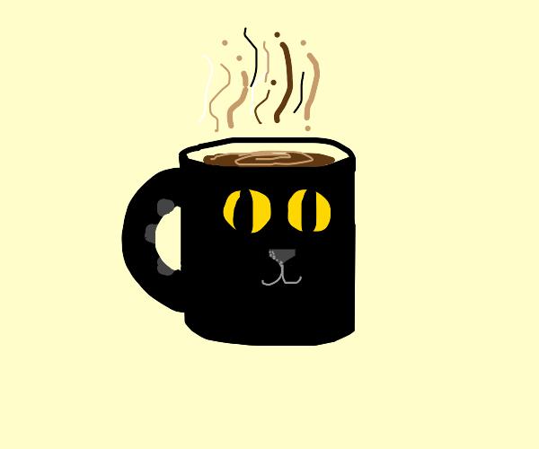 cat mug with warm coffee
