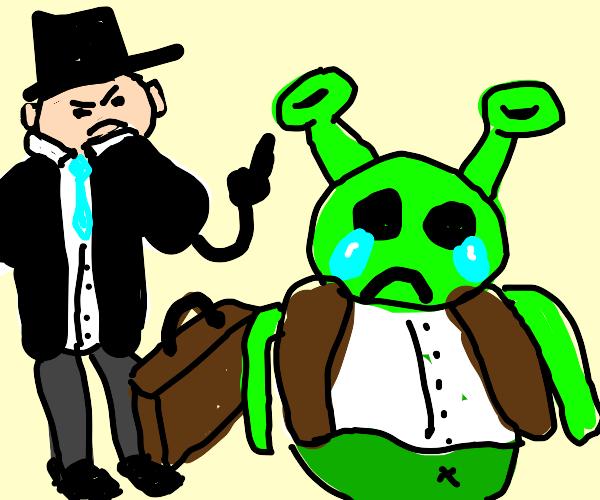 business man makes shrek cry