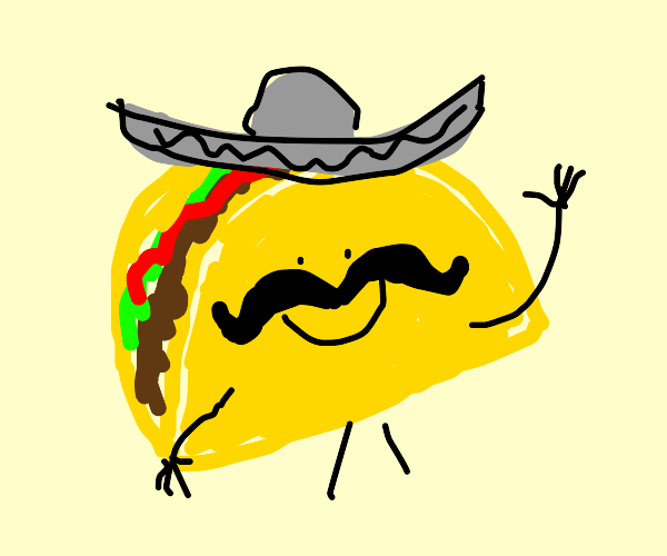 Friendly Taco with a sombrero and mustache