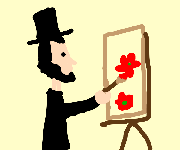Abraham Lincoln painting flowers