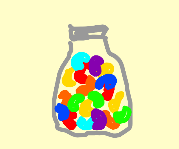 a jar of colorful jelly beans