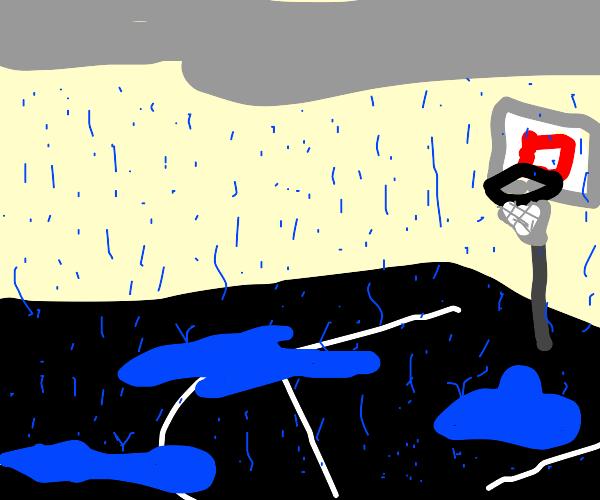 Basketball court in the rain