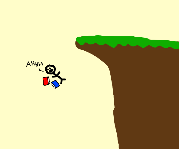 man with books falls off a cliff and goes Ahh