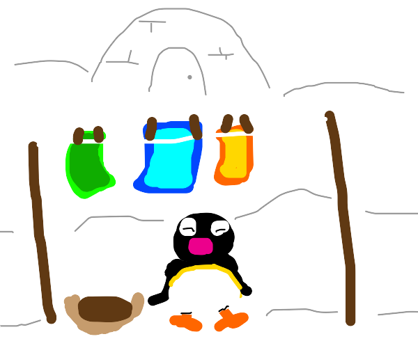 penguin waits for their laundry