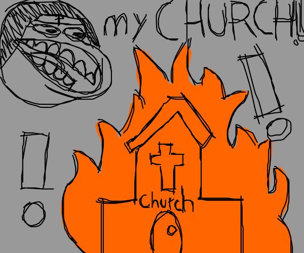 Church burns down