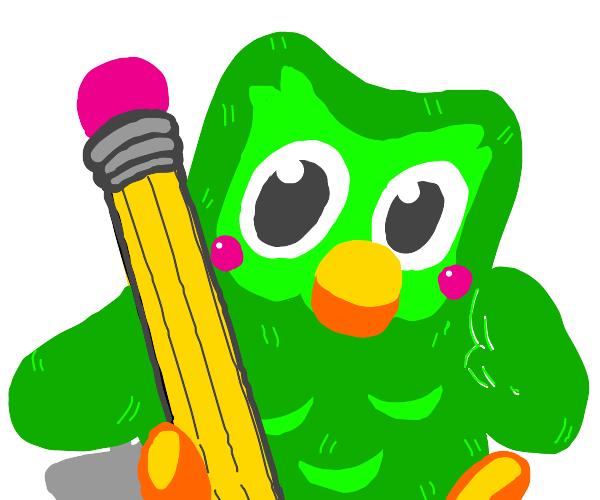 Duolingo bird with a pencil