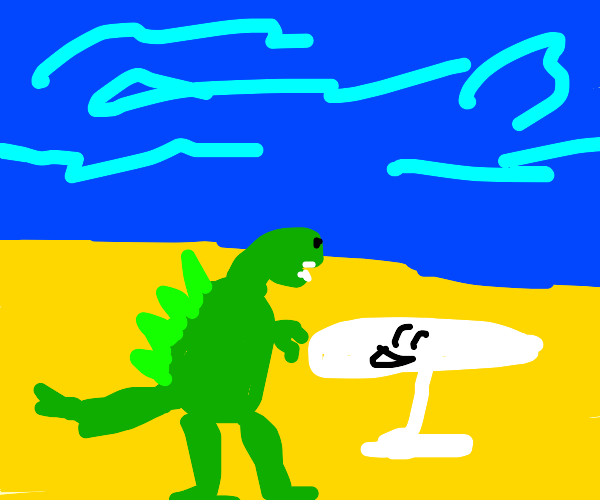 Godzilla chilling at the beach with table