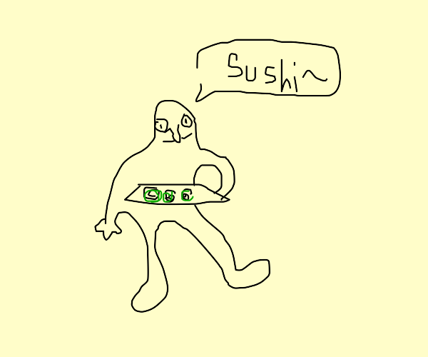 Naked man offers you sushi