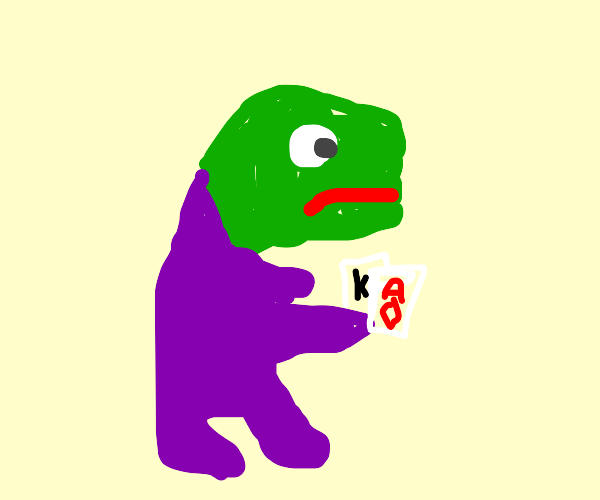 Pepe man in onesie playing cards