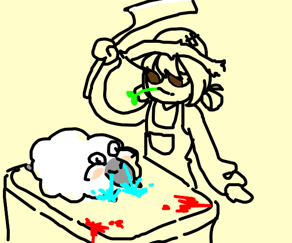 Farmer about to butcher a crying sheep