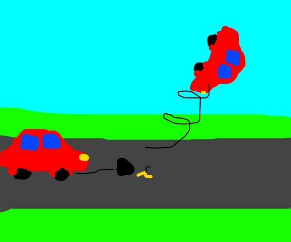 Car about to slip on a banana peel