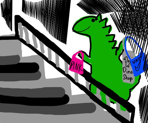 Dinosaur going on escalator after shopping