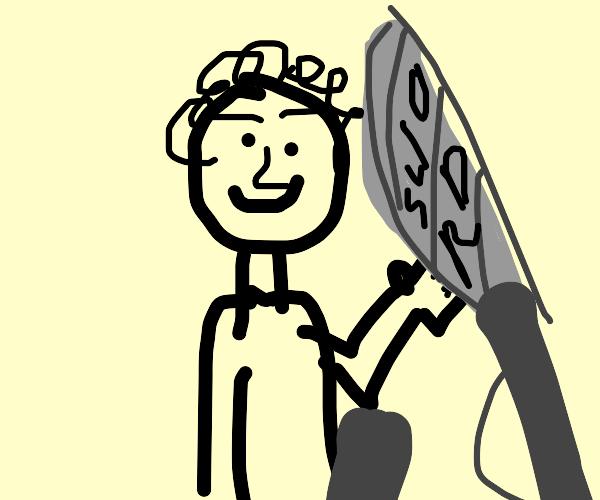 Happy dude with a sword :)