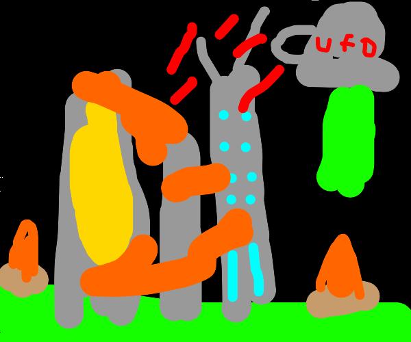 Aliens destroying a city