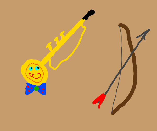 trumpet with bow and uwu face