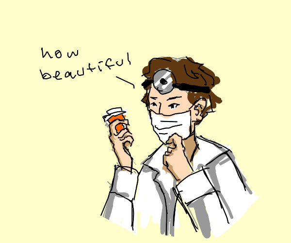 A doctor with a mustache admires pills