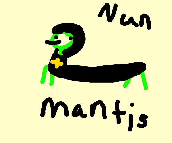 Praying mantis dressed up in a tiny nun dress