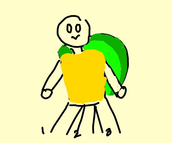 Kid with turtle shell whose legs are numbered
