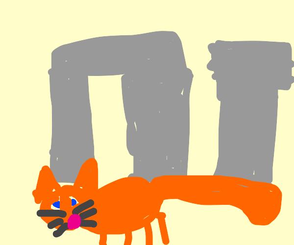 Garfield walks away from Stonehenge