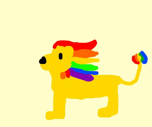 Lion with luscious rainbow mane