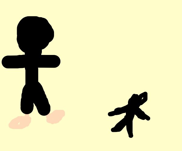 barefoot guy confused at small shadowy figure