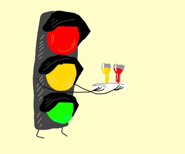Traffic light serving drinks