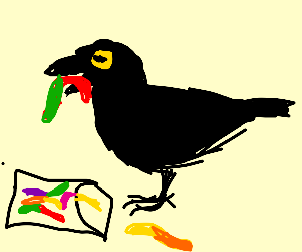 Black crow eating rainbow gummy worms