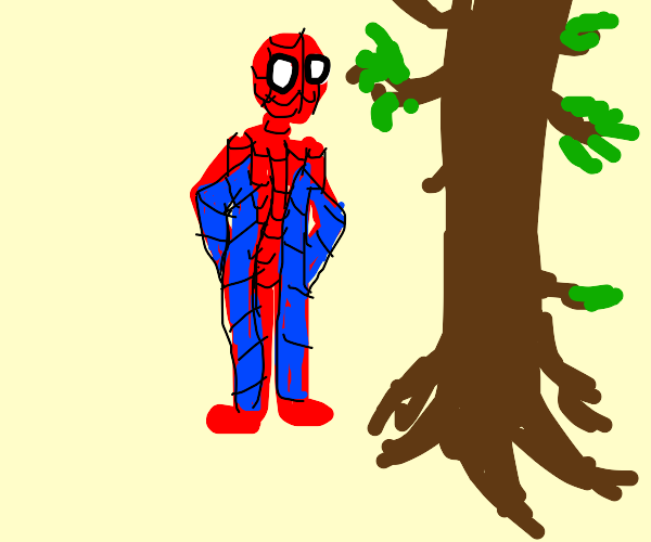 spiderman stands next to a big tree