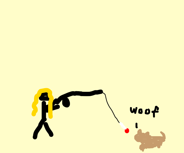 girl fishes for dog with giant lollipop