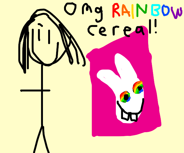 A woman creeps up on trix cereal